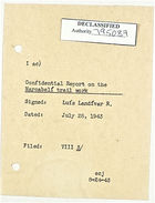 Cover Sheet for Confidential Report on the Marcabeli Trail Work, July 28, 1943