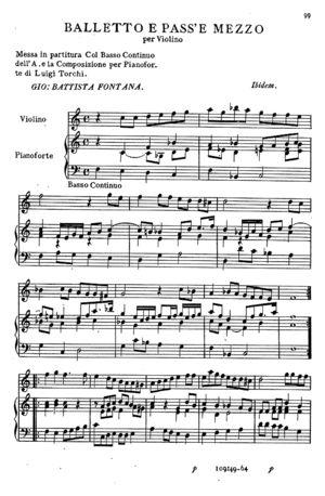 Balletto e Pass'e Mezzo per Violino