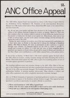 Anti-Apartheid Movement flyer, re: ANC Office Appeal, April 1982