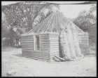 hut under construction with roof framework visible