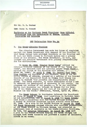 Memo from Harry N. Howard to W. O. Baxter re: Incidents on Northern Greek Frontiers: Some Official Statements from Govts. of Greece, Albania, Yugoslavia & Bulgaria, c.1947