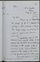 Copy of Letter from Spenser St. John to Marquis of Salisbury, May 27, 1892