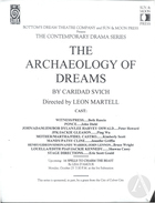 Flyer for Archaeology of Dreams by Caridad Svich, produced by Bottom's Dream Theatre Company at the Ivy Substation on September 27, 1999.