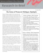 Research in Brief: The Status of Women in Michigan, Highlights, 2004