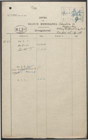 Branch Memoranda re: Situation and Negotiations in Kwangtung [Guangdong], 1916