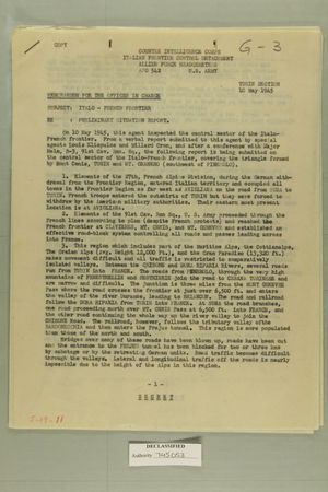 Memorandum for the Officer in Charge re: Preliminary Situation Report, May 10, 1945