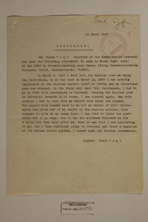 Affidavit from Mr. Franz Vogt, 13 March 1947