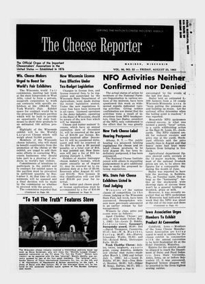 The Cheese Reporter, Vol. 86, No. 52, Friday, August 23, 1963