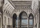 Set design by Pietro Bertoja (1828-1911) for Simon Boccanegra, opera by Giuseppe Verdi (1813-1901), for performance at La Fenice Theatre in Venice, 1857