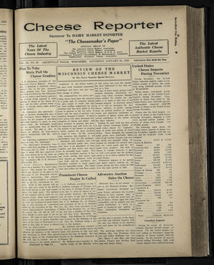 Cheese Reporter, Vol. 54, no. 20, Saturday, January 25, 1930