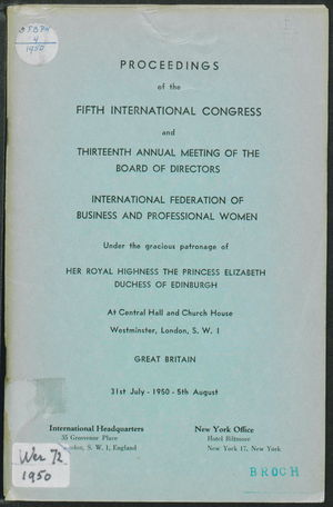 Proceedings of the Fifth International Congress and Thirteenth Annual Meeting of the Board of Directors