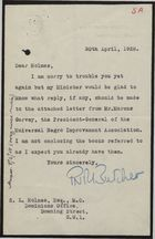 Letter from P. N. R. Butcher to S. L. Holmes re: Query by Minister on Letter from Marcus Garvey, April 30, 1928