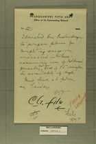 Hand-Written Note from Gen. Truscott to C/S Discussing ''French Situation''