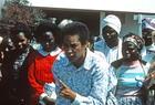 African woman speaking and firmly making a point, Nairobi, 1985, International Women's Tribune Centre Slide Show, NGO Forum, Nairobi
