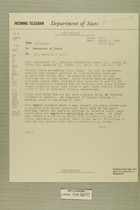 Telegram from William E. Cole, Jr. in Jerusalem to Secretary of State, March 6, 1956