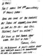 Letter from Lori to Tracy Baim, January 23, 2001