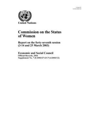 Report on the 47th Session, New York, 3-14 and 25 March 2003