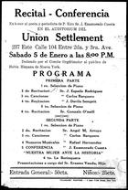 Flyer for a Recital-Conference in New York, Presented by Erasmo Vando.