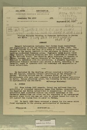 Foreign Ministry Briefing on Fedayeen Activities in Jordan, September 18, 1956