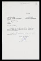Letter from SJP [Secretary to MG] to A. Hermann, 22 July 1963
