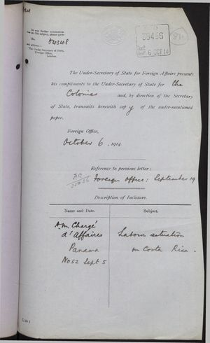 Correspondence re: Labour Situation in Costa Rica, August 29-October 6, 1914