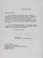 Letter from Gladys Rice to Mr. [Frederick] Soaki, November 14, 1969