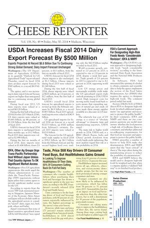 Cheese Reporter, Vol. 138, No. 49, Friday, May 30, 2014