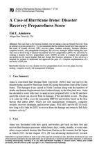 A Case of Hurricane Irene: Disaster Recovery Preparedness Score