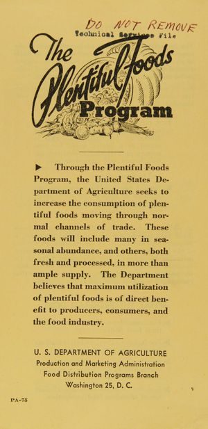 The Plentiful Foods Program