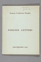 Foreign Letters, Summer Conference Number, June -September 1907