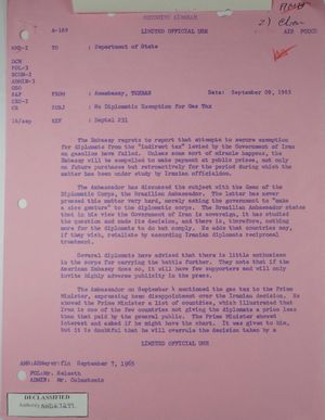 Airgram from Armin H. Meyer to Department of State re: No Diplomatic Exemption for Gas Tax, September 9, 1965