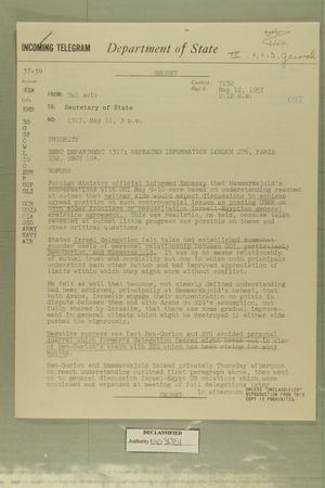 Telegram from Tel Aviv to Secretary of State, May 11, 1957