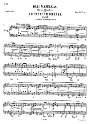 Mazurka no. 33, B.153, Op. 56/1, B Major