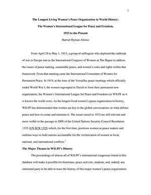 The Longest Living Women's Peace Organization in World History: The Women's International League for Peace and Freedom, 1915 to the Present