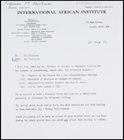 Letter from the Secretary, IAI, to the Officers, 31 Aug. 1973