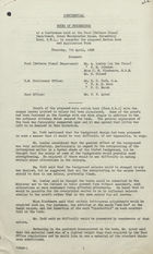 Confidential Notes of April 7, 1938 Conference Proceedings re: Proposed Ration Book and Application Form