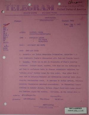 Telegram from Armin H. Meyer to Secretary of State Rusk re: Iran & India, May 1, 1967