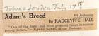 Adam's Breed by Radclyffe Hall, 6th Impression