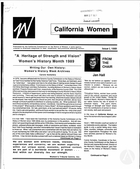 California Women: Bulletin, Issue I, 1989