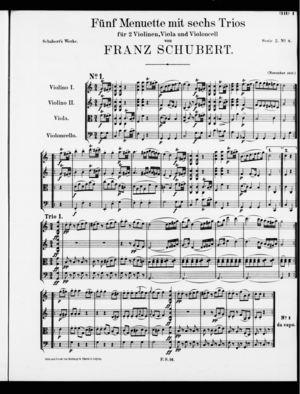 Fünf Menuette mit sechs Trios, D. 89