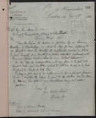 Letter from Charles Spon, E. & F. N. Spon, Ltd., to Lewis Harcourt re: Petition of Clarence Headly, November 16, 1910