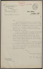 Letter from War Office to Secretary of Admiralty, October 25, 1915