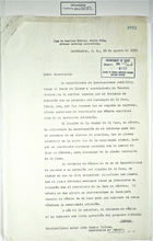 Letter from Manuel Tello Baurraud to John Foster Dulles re: Chamizal Border Dispute and Use of Land in Isla de Córdoba, August 29, 1953