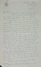 Letter from C. F. Hickling to Raymond Firth, September 20 [circa 1948]