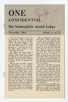 One - Confidential: The Homophile World Today (Volume IX, No. II, November-1964)