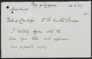 Copy of Telegram from Duke of Cambridge to Sir Lintorn Simmons, June 14, 1877
