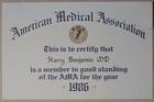 American Medical Association Membership Certificate, 1986