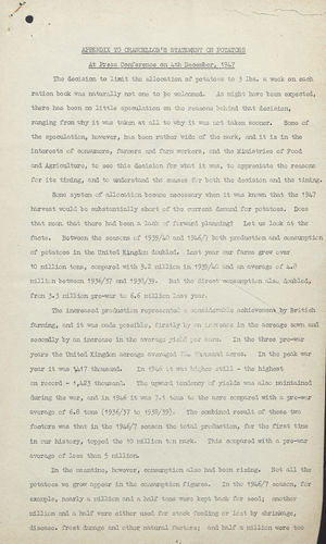 Appendix to Chancellor's Press Statement on Potatoes, December 4, 1947