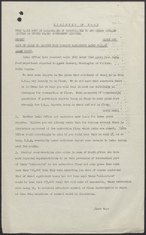 Copy of Cable from British Food Mission - Washington re: Flour Exports, 30.4.46