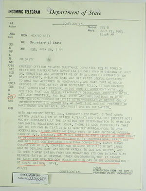 Telegram from U S  Embassy in Mexico City to Secretary of
